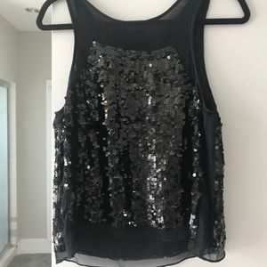 MM Couture by Miss Me Sheer Black Sequin Tank M